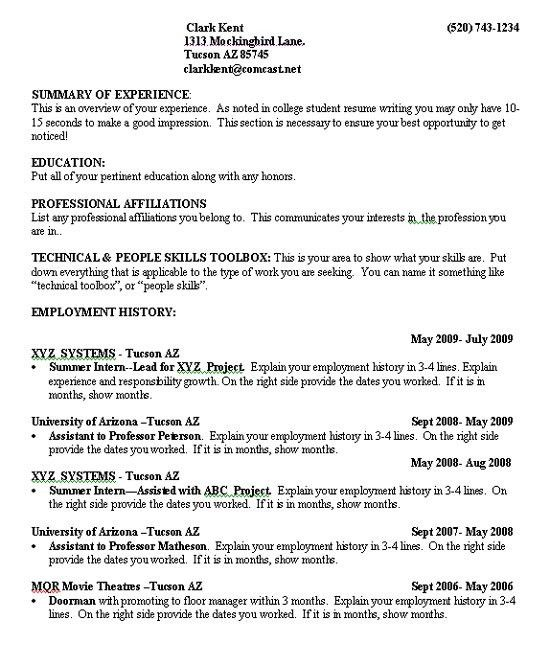 Resume Templates For College Students - Resume Example