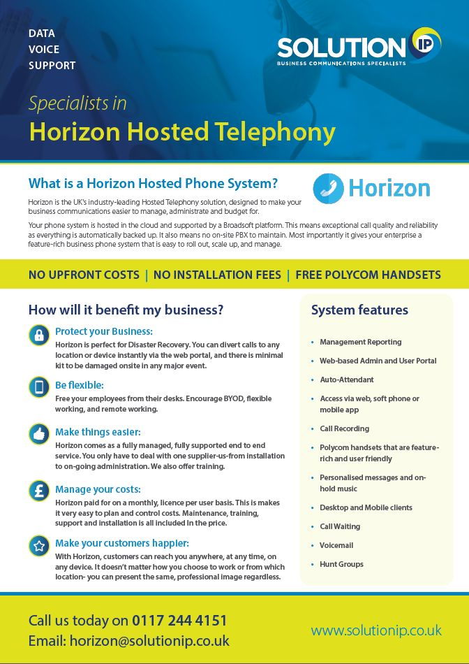 The Southwest's leading supplier of Horizon Hosted Telephone Systems