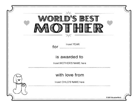 Education World: World's Best Mother Certificate Template