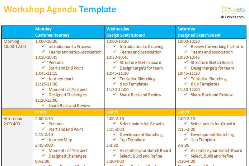 Workshop agenda template - Dotxes