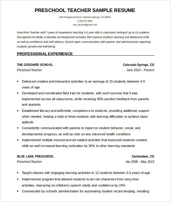 Resume Example Teacher. Buy Original Essay | Resume Sample Special ...