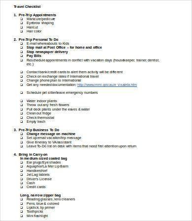 Printable Checklist Template - 8+ Free Word, PDF Documents ...