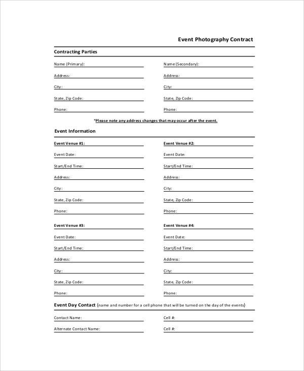 Sample Photography Contract - 7+ Documents in PDF, Word