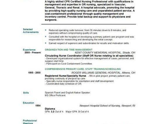 Resume Examples. new grad free rn resume template nursing ...