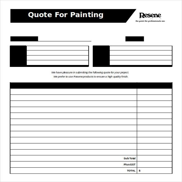 free quote template