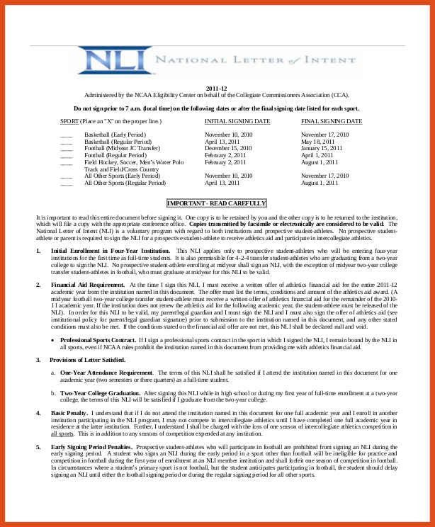 national letter of intent | moa format
