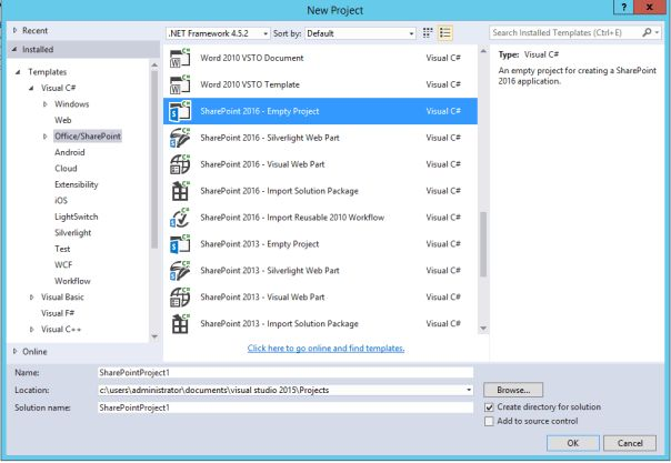 SharePoint 2016 – Project Template for Visual Studio Available |
