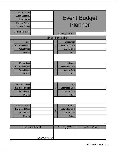 Free Wide Numbered Row Event Budget Planner from Formville