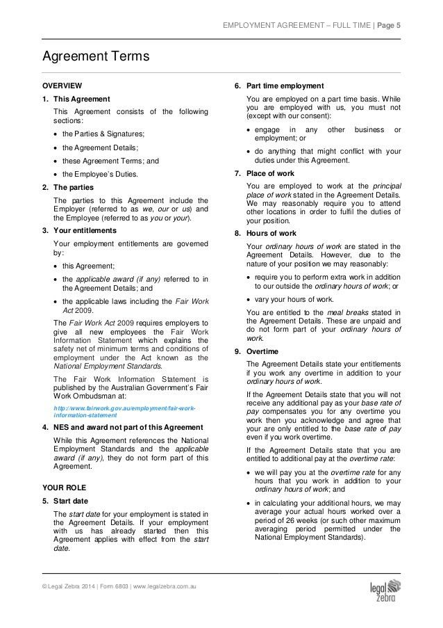 Part Time Employment Agreement Template - Australia - Sample