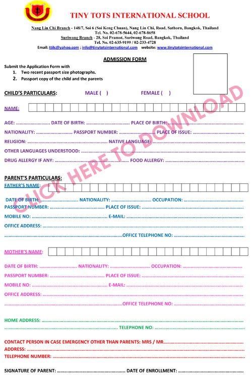 Admission Form | Tiny Tots International School