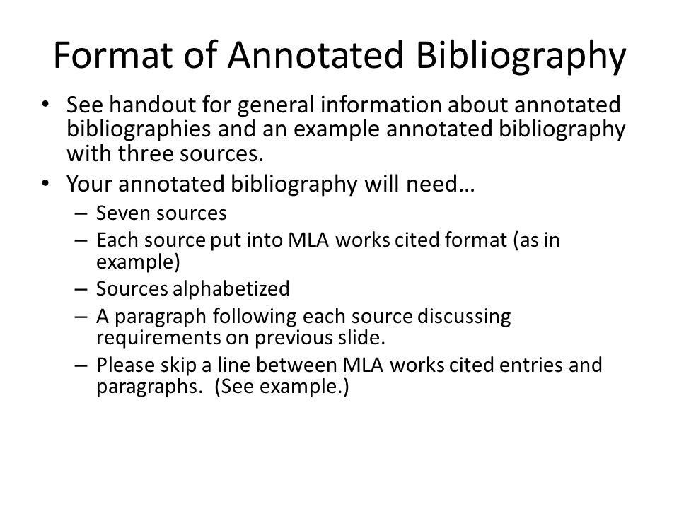 The Annotated Bibliography - ppt download