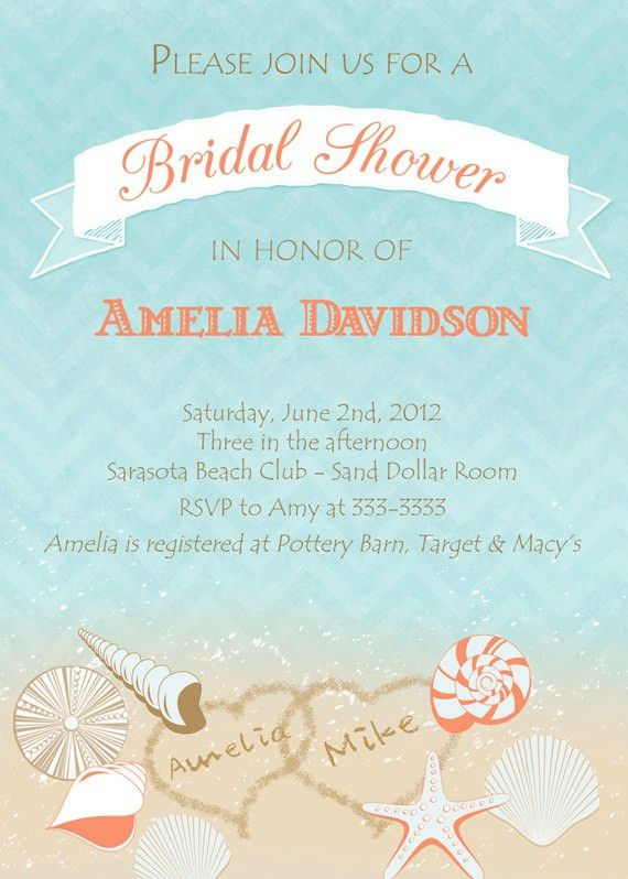 Beach Theme Bridal Shower Invitations | christmanista.com