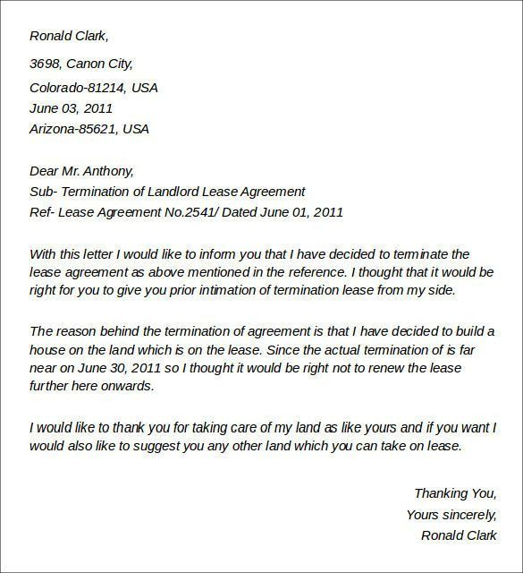 landlord termination notice – Letter Format Writing