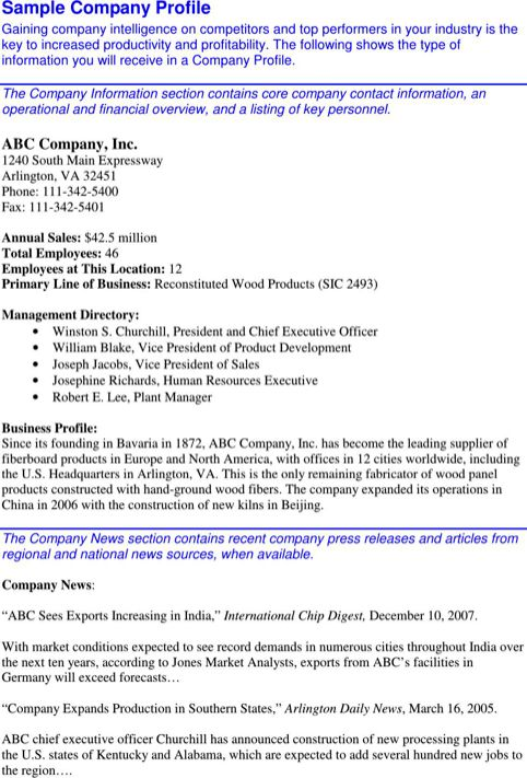 Company Profile Sample for Excel, PDF and Word