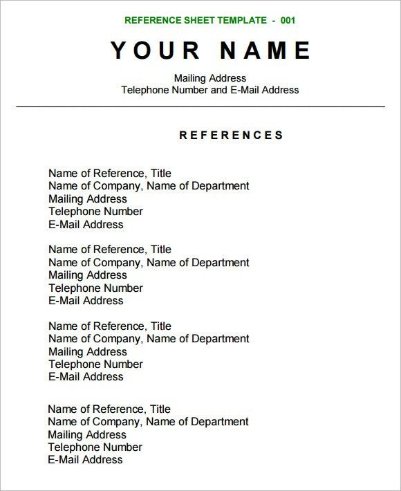 Sample Reference Sheet - 8+ Examples, Format