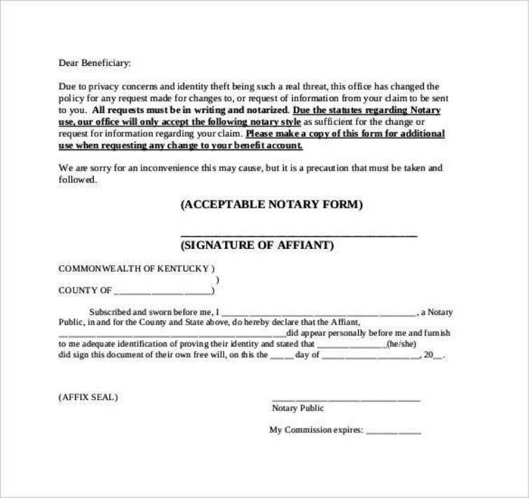 Notary Template] Notarized Letter Templates 27 Free Sample Example ...