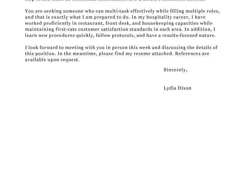 Wondrous Hospitality Cover Letter 6 Leading Hotel Examples ...