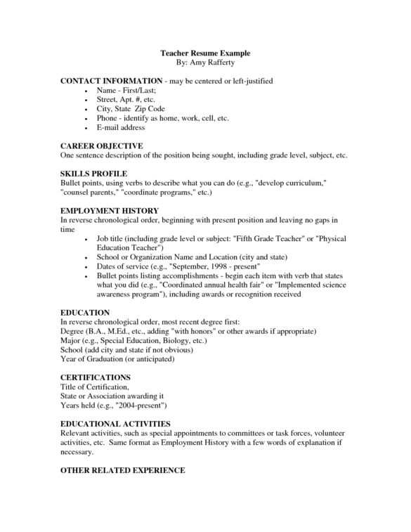 Perfect Samples Of Teacher Resume For Job Application : Vntask.com