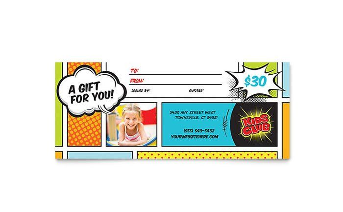Kids Club Gift Certificate Template - Word & Publisher