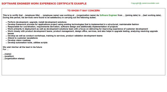 Software Engineer Work Experience Certificate