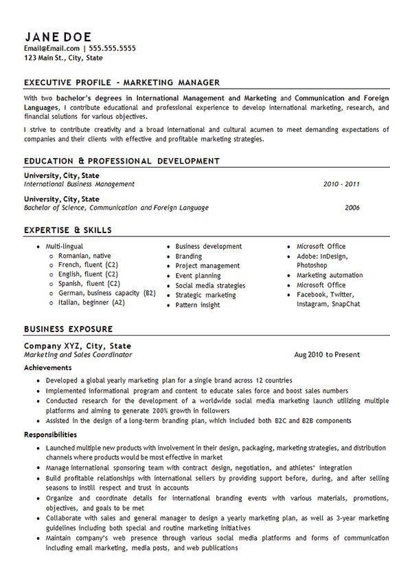 Marketing Manager Resume Examples. Account Manager Resume Examples ...