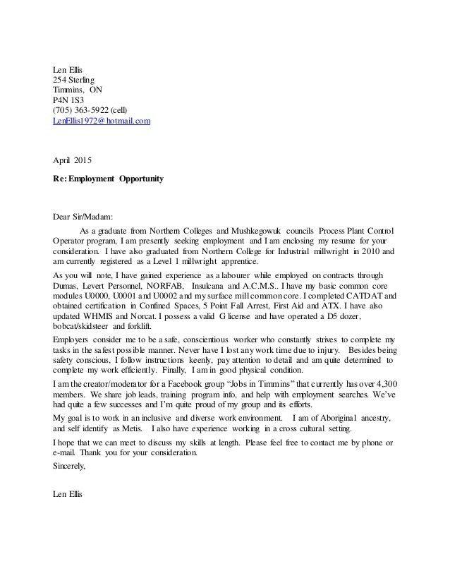 Len cover letter resume April 2015 Gen