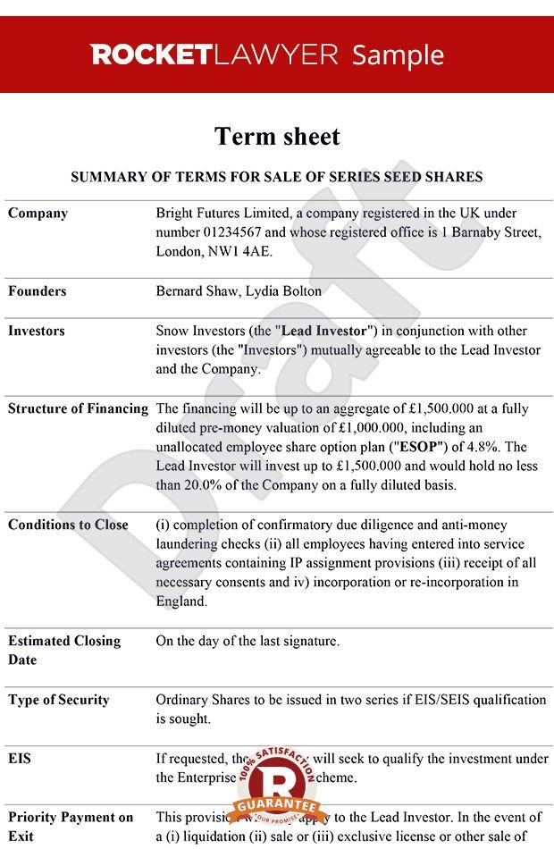 sheet - Term sheet template - Term sheets