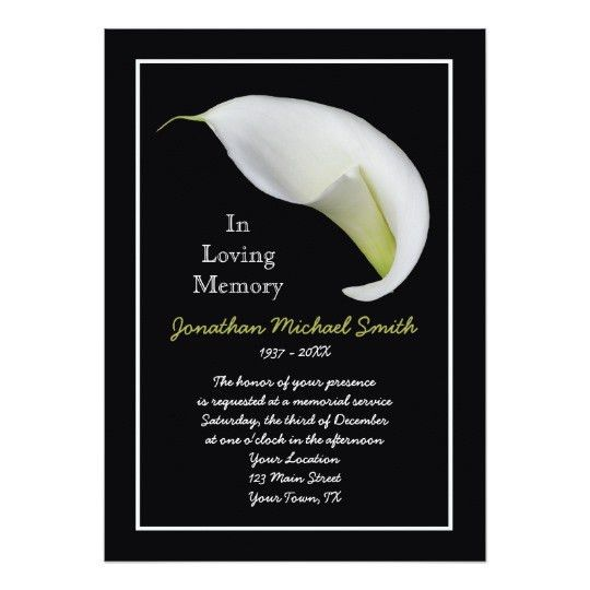 Memorial Service Invitation Announcement Template | Zazzle.com