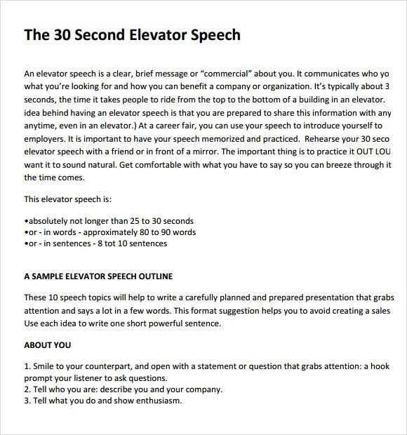 Elevator Pitch Example. Example Elevator Pitch The Elevator Pitch ...
