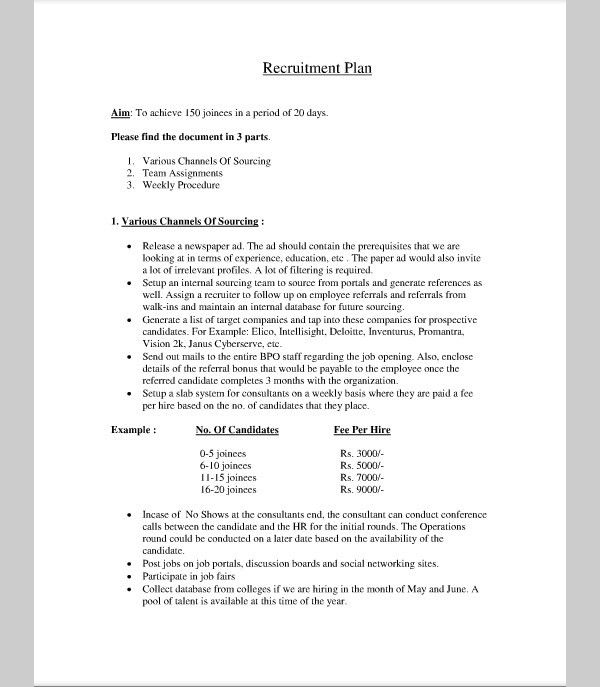 Recruitment Business Plan Template | Sample Templates
