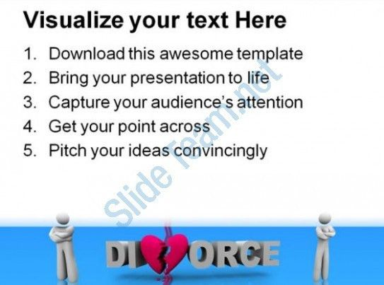 Divorce Word With Broken Heart Family PowerPoint Templates And ...