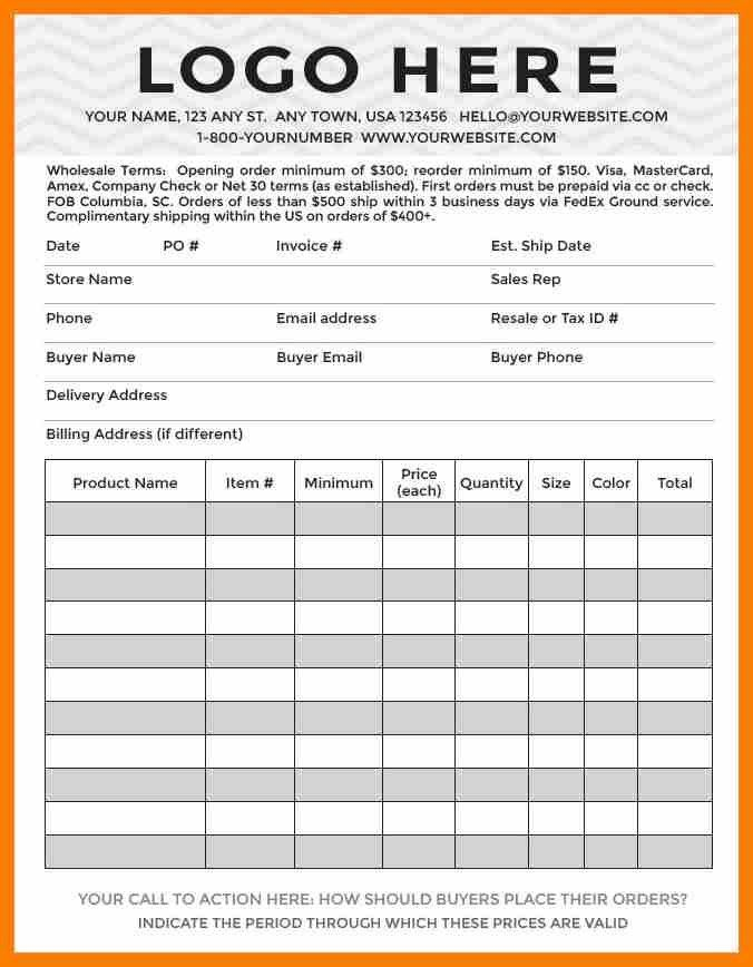 6+ wholesale order form template | hostess resume