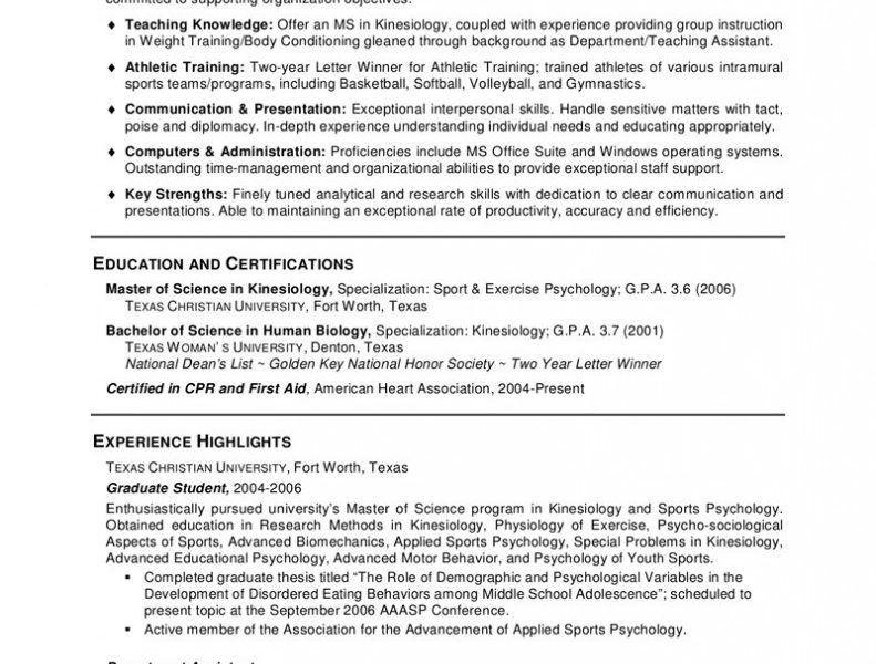 Exercise Psychologist Sample Resume Professional Exercise