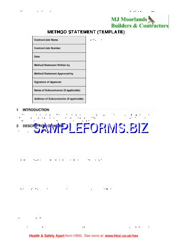Method Statement templates & samples forms