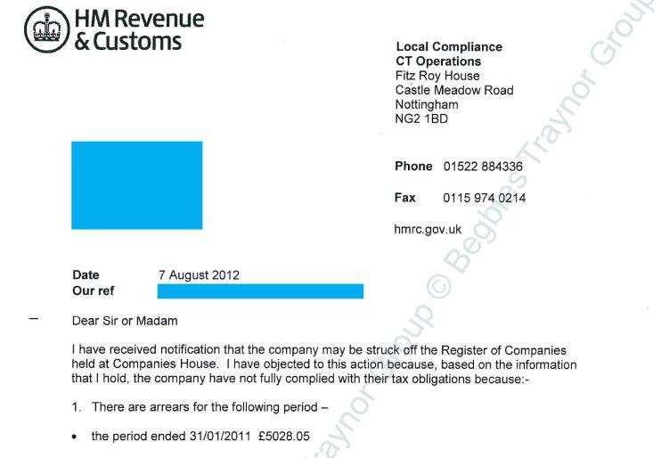 HMRC Objection to Company Strike Off