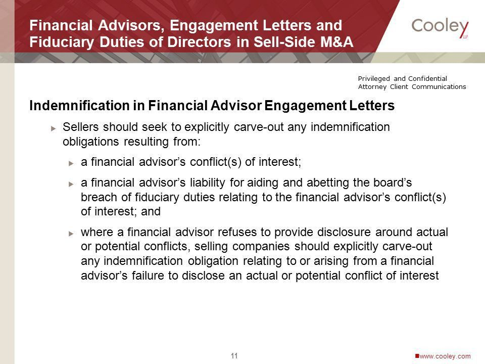 Financial Advisors, Engagement Letters and Fiduciary Duties of ...