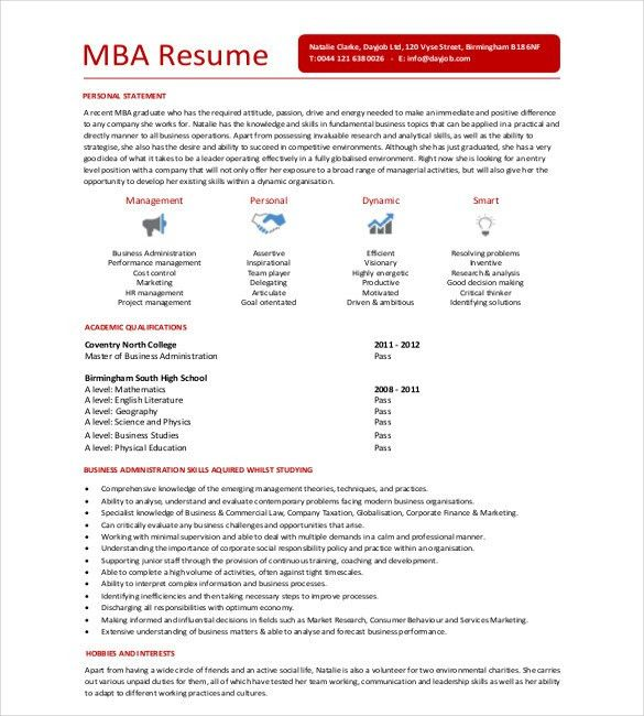 MBA Resume Template – 11+ Free Samples, Examples, Format Download ...
