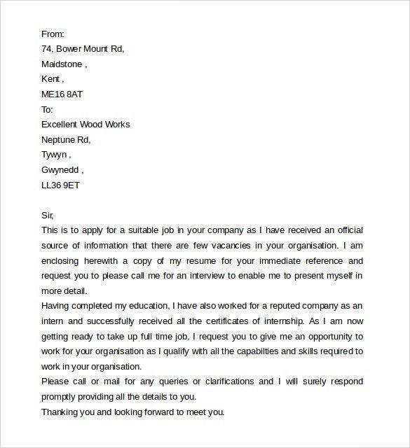Application letter for jobs format