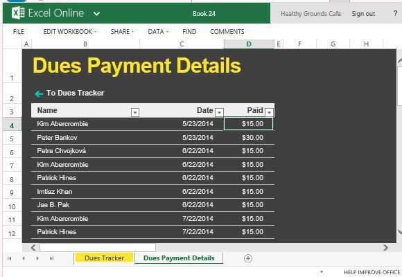 Club Dues Tracker For Excel Online