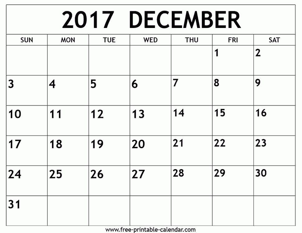 December 2017 calendar template - Free-printable-calendar.com