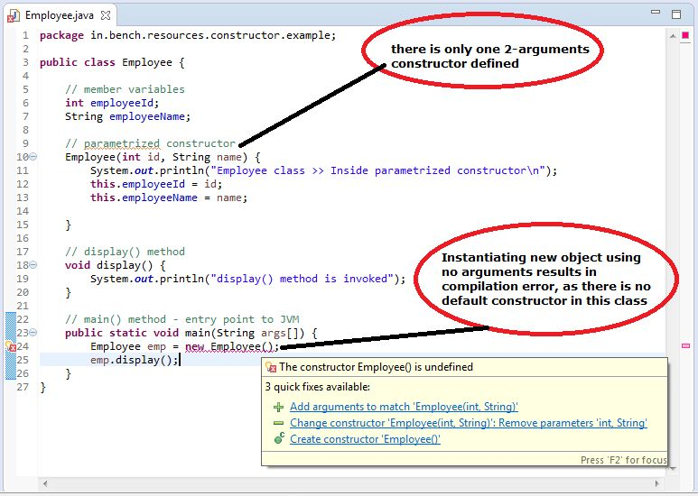 Java: Parametrized Constructor with example - BenchResources.Net