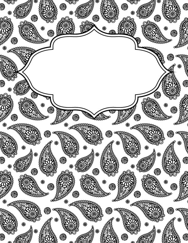 Free printable black and white paisley binder cover template ...