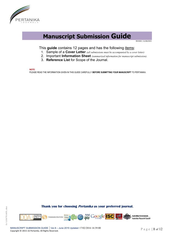 MS Submission Guidelines - Pertanika Journal