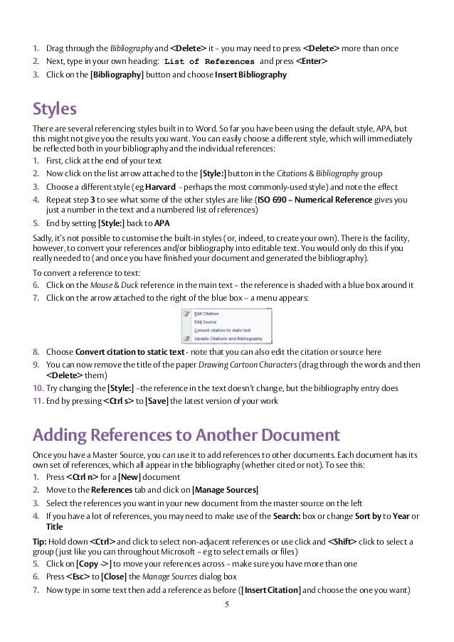 Microsoft word references & bibliography
