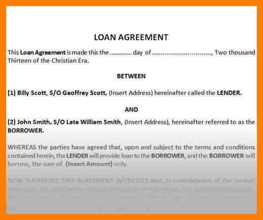 9+ sample of loan agreement between two parties | joblettered