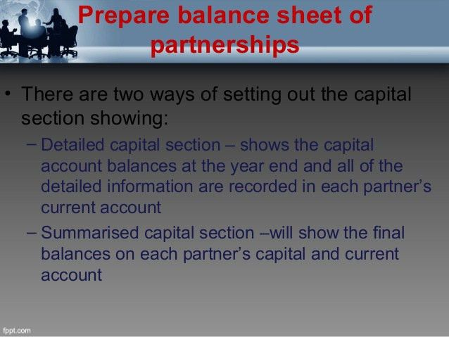 Preparation of balance sheet of partners