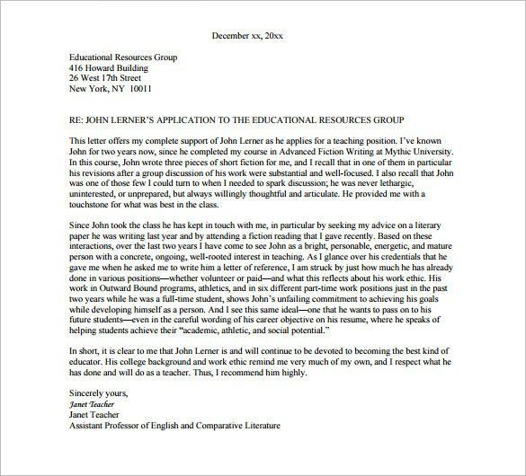 College Recommendation Letter – 9+ Free Word, Excel, PDF Format ...