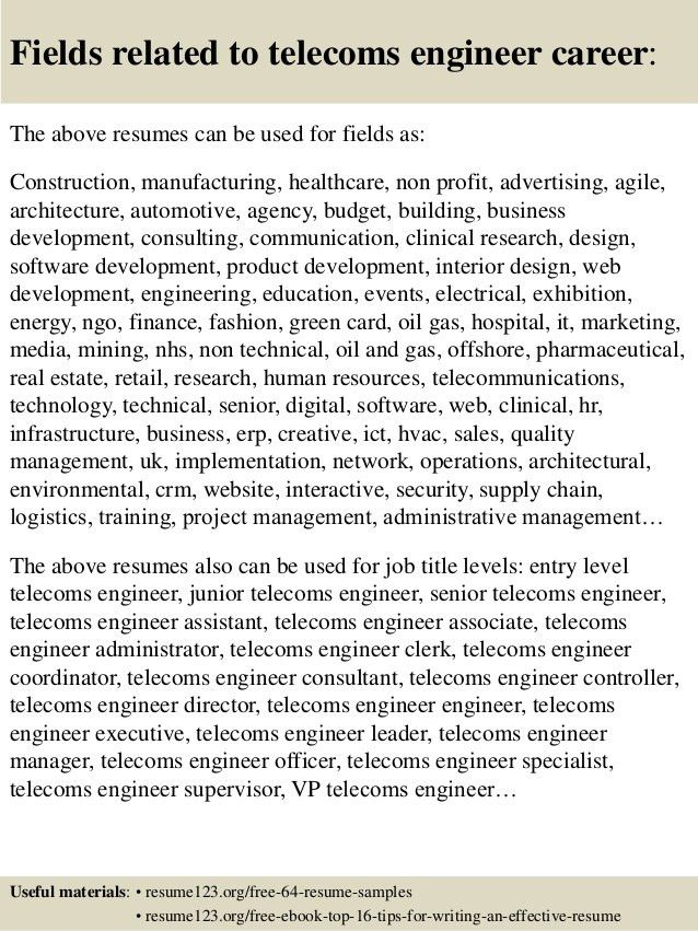 Top 8 telecoms engineer resume samples