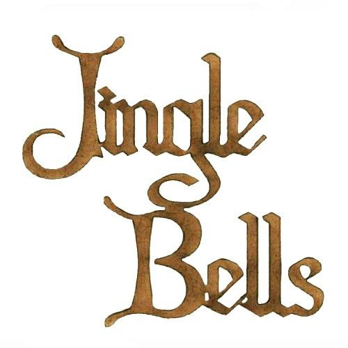 Jingle Bells - Wood Words cut out in Christmas Card font