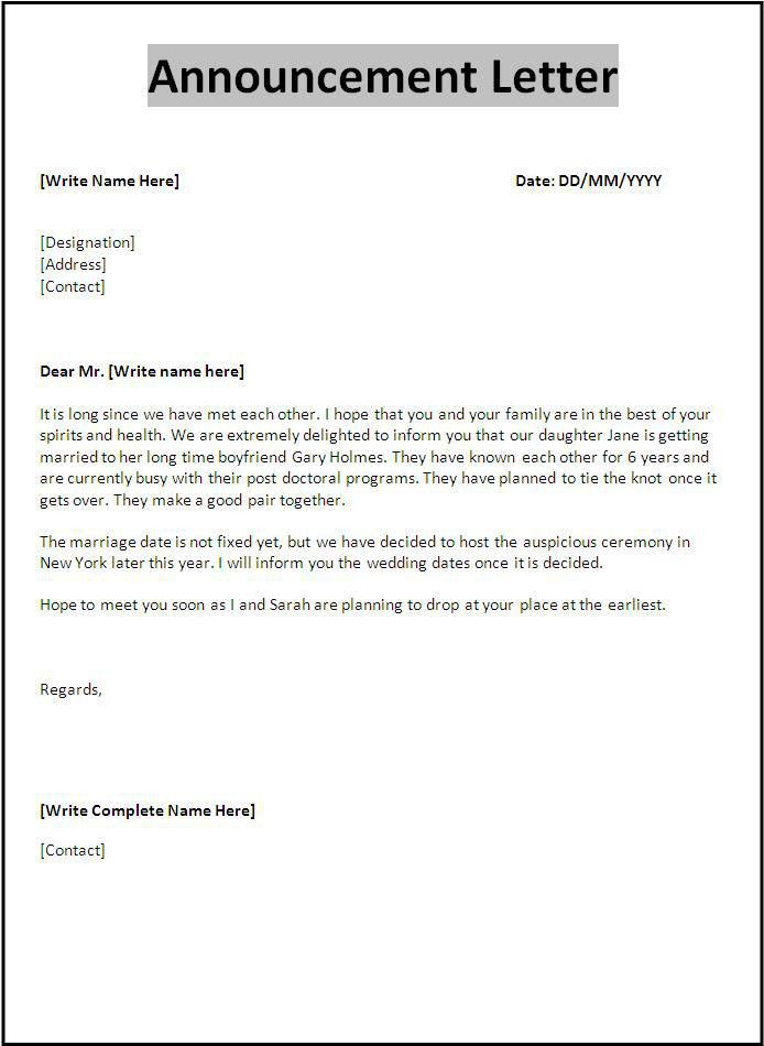 Announcement Letter Template. Letter Announcing New Business ...